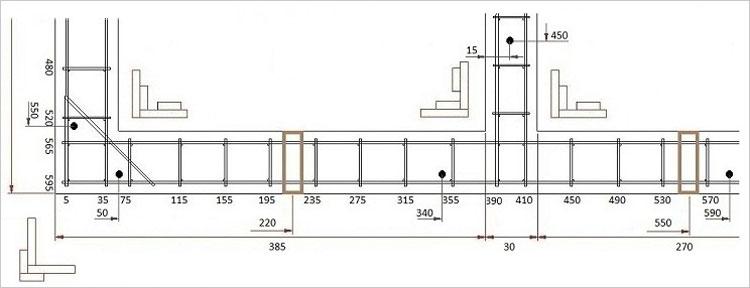 План раскладки аоматуры для ленточного фундамента