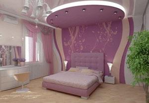 Монтаж гипсокартонового потолка в спальной комнате