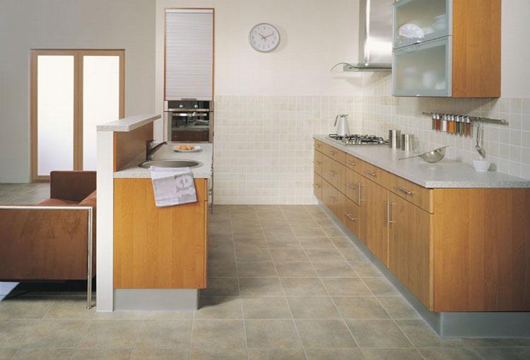 Линолеум в кухне с имитацией плитки