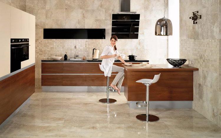 Линолеум под мрамор в кухне