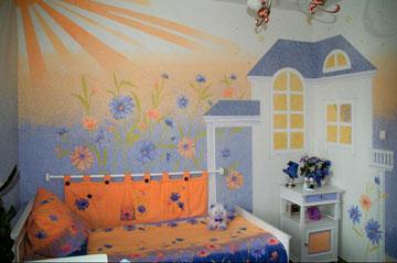 Оформление стен детской комнаты жидкими обоями
