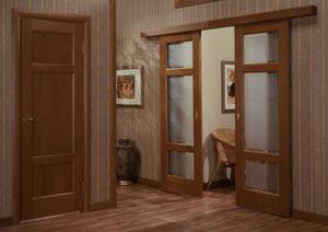 Двухстворчатые двери-купе в квартире