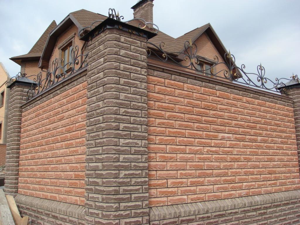 забор из силикатного кирпича облицовочного