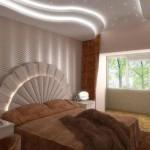 гипсокартон в спальне на потолке