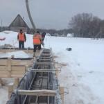 зимой фундамент