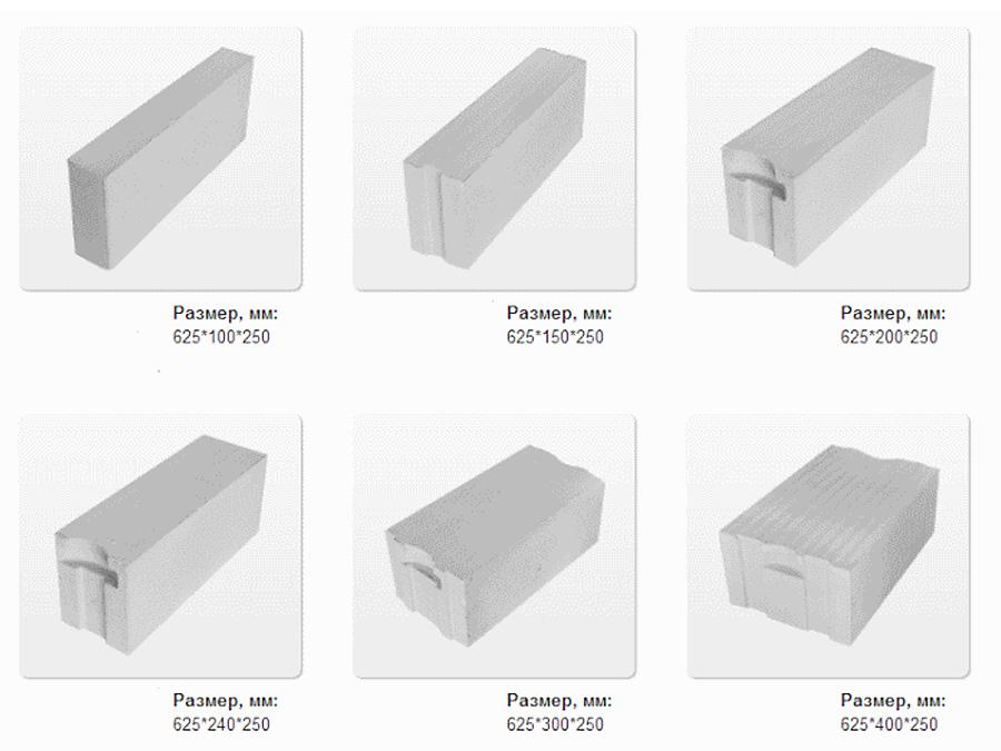 Газобетонные блоки - размеры