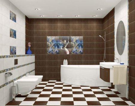 Панно плитки на полу в ванной