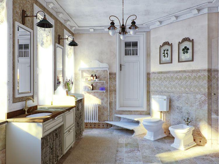 Декор ванной комнаты плиткой в стиле кантри