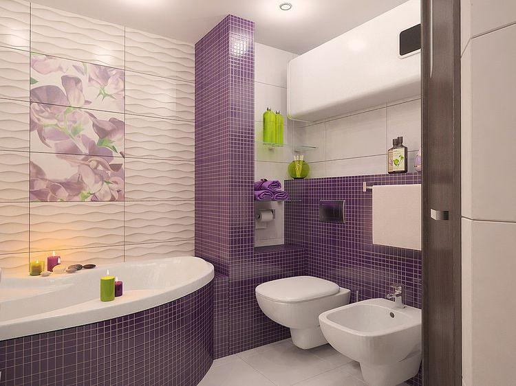 Декор ванной комнаты плиткой в стиле хай-тек