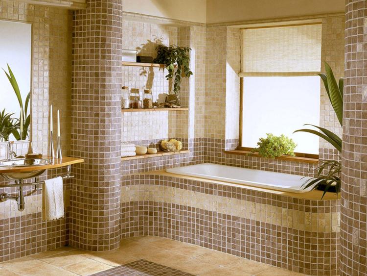 Декор ванной комнаты плиткой - мозаика