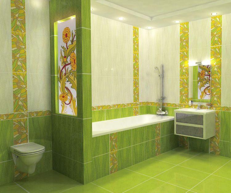 Декор плитки в ванной в зеленой гамме
