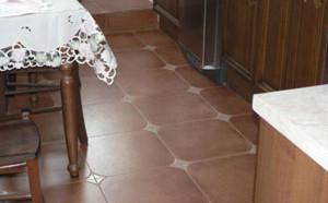 Кафель на полу кухни под цвет мебели
